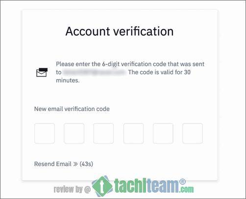 điền mã xác minh email khi đăng ký binance