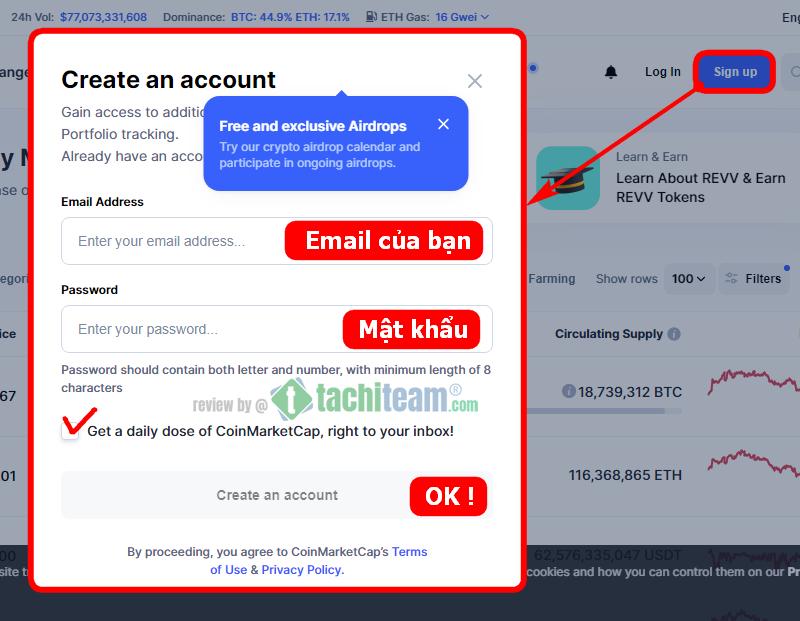 CoinMarketCap sign up