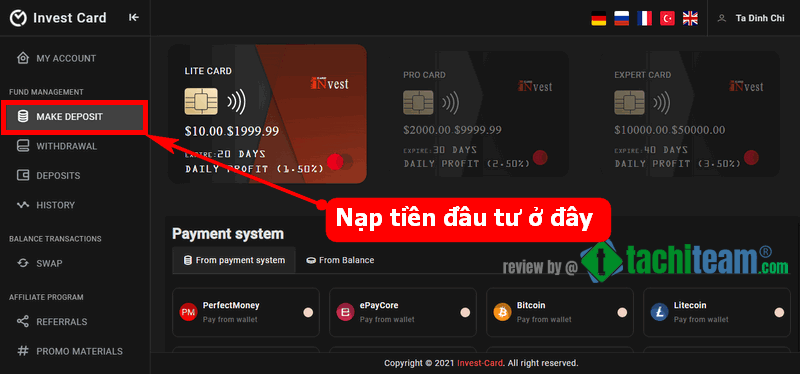 invest card deposit