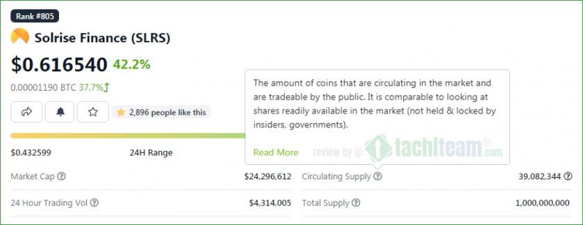 coin Solrise Finance (SLRS) hệ sinh thái solana