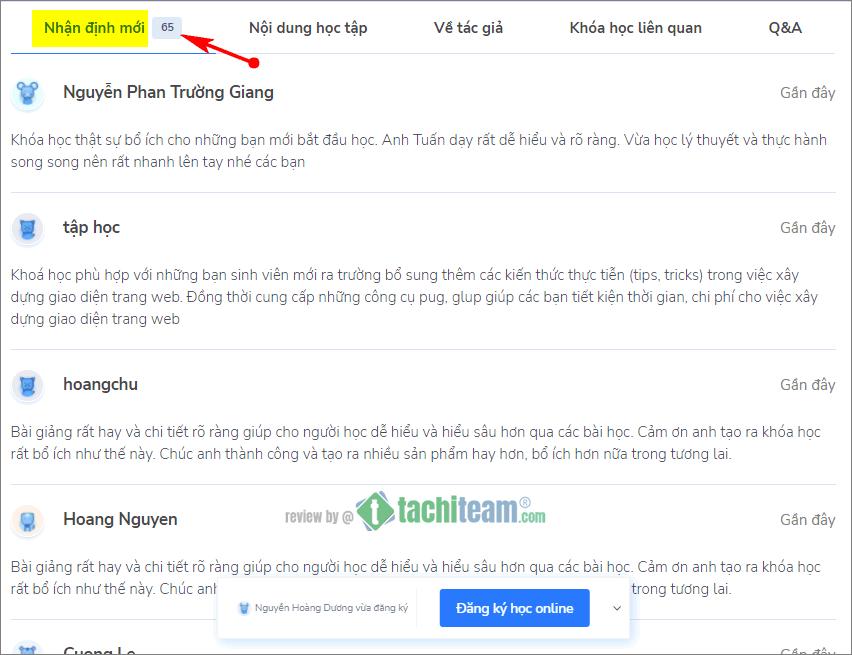 Nhận xét Khóa học HTML CSS của EvonDev
