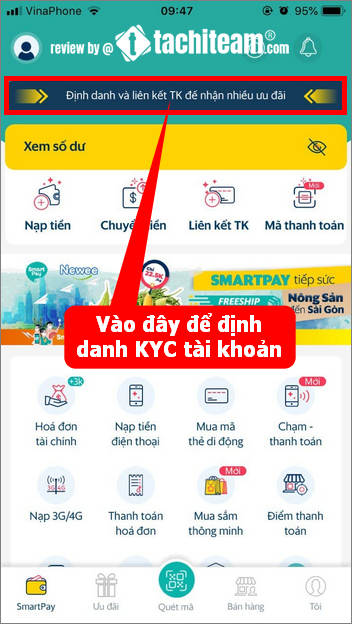 cách xác minh danh tính kyc tài khoản ví SmartPay