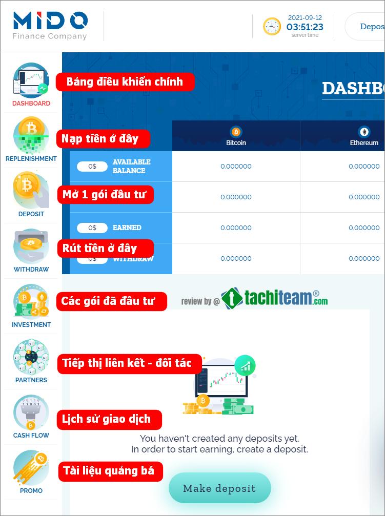 Mido Finance dashboard