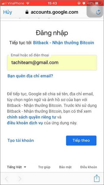 đăng ký bitback qua google